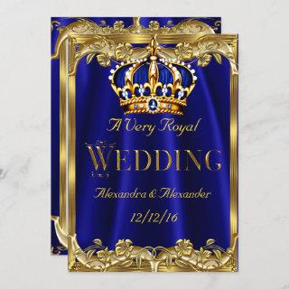 Royal Blue Navy Wedding Gold Crown 3 Invitations