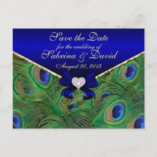 Royal Blue Peacock Save the Date Postcard