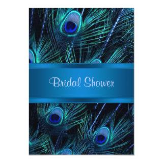 Royal Blue Purple Peacock Bridal Shower Invitation