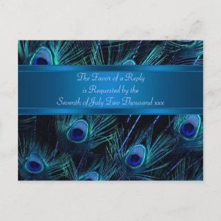 Royal Blue Purple Peacock Feathers Wedding Invitations Postcard