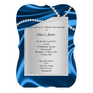 ROYAL BLUE SATIN, DIAMOND ELEGANT CLASSY WEDDING INVITATION