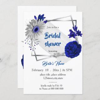 royal blue silver floral geometric bridal shower Invitations