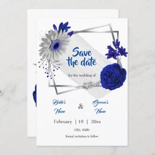 royal blue silver floral geometric save the date Invitations