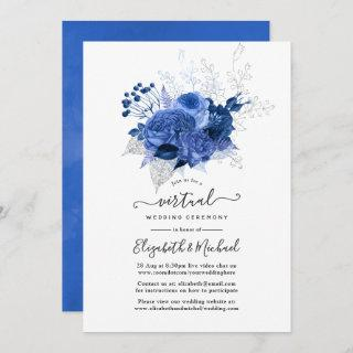 Royal Blue & Silver Floral Online Virtual Wedding Invitations