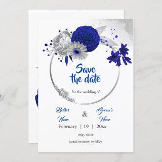 royal blue silver floral wreath save the date invitation