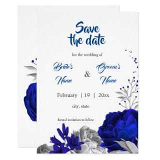 royal blue  silver flowers botanical save the date invitation