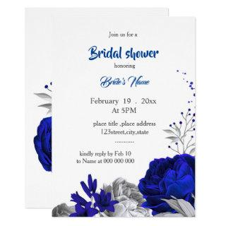royal blue silver flowers bridal shower invitation