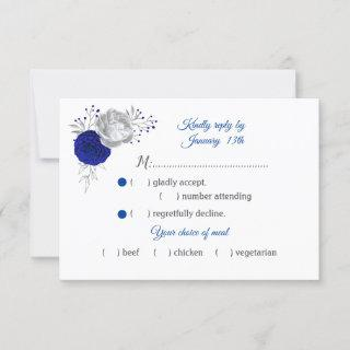 royal blue & silver flowers meal choice RSVP card