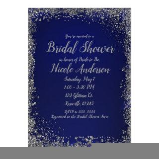Royal Blue & Silver Glitter Modern Bridal Shower Invitations