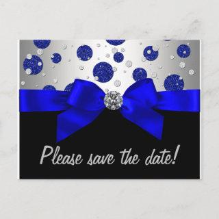 Royal Blue Silver Save The Date Announcement Postcard
