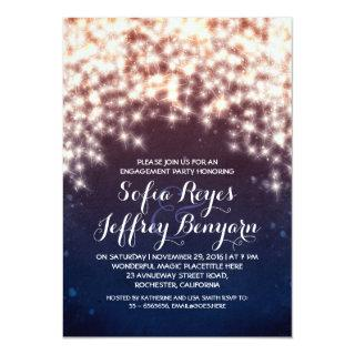 royal blue string lights engagement party invites