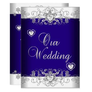 Royal Blue Wedding Silver Diamond Hearts 2 Invitations