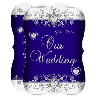 Royal Blue Wedding Silver Diamond Hearts b Invitations