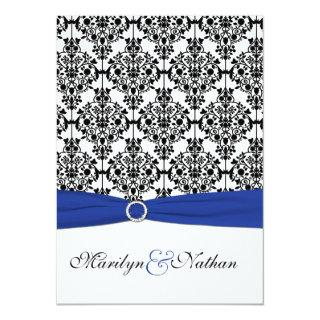 Royal Blue, White, Black Damask Wedding Invitation