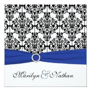 Royal Blue, White, Black Damask Wedding Invitations