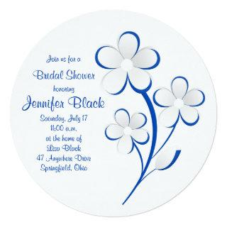 Royal Blue White Daisy Bridal Shower Invitation