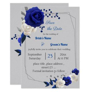 royal blue white flowers geometric save the date invitation