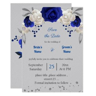 royal blue white flowers grey leaves save the date invitation