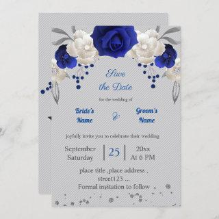 royal blue white flowers grey leaves save the date Invitations
