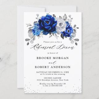 Royal Blue White Silver Floral Rehearsal Dinner Invitations