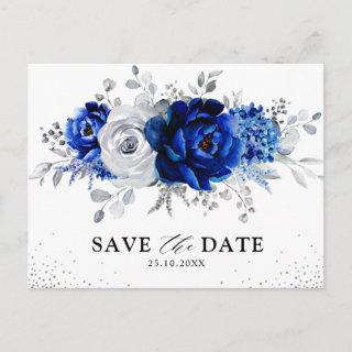 Royal Blue White Silver Floral Save the Date Postcard