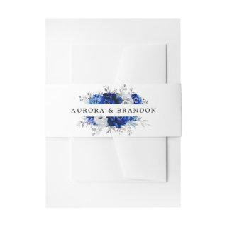 Royal Blue White Silver Metallic Floral Wedding In Invitations Belly Band
