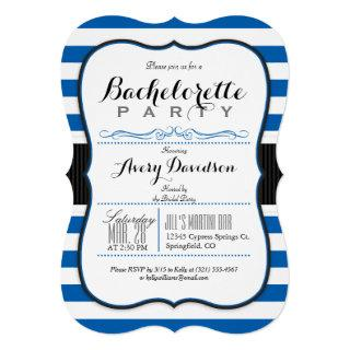 Royal Blue & White Stripes Bachelorette Party Invitations