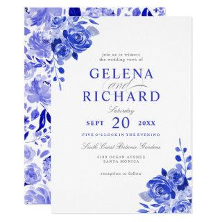 Royal Blue & White Watercolor Blue Floral Wedding Invitation