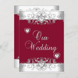 Royal Burgundy Red Wedding Silver Diamond Hearts Invitations