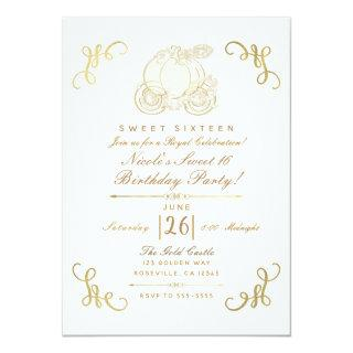 Royal Golden Gold Pumpkin Carriage Sweet 16 Party Invitations