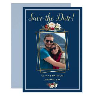 Royal-Light Blue Watercolor Blush and Red Peony Invitations