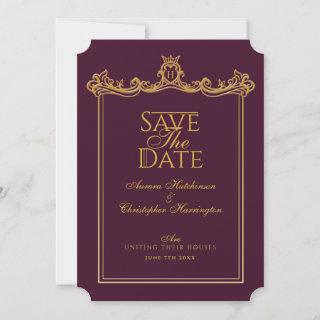 Royal Muse Medieval Fantasy Ornate Plum Wedding Save The Date