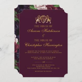 Royal Muse Medieval Fantasy Plum Floral Wedding Invitations