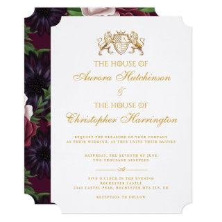 Royal Muse Medieval Fantasy White Floral Wedding Invitations