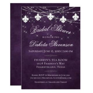 Royal Purple Fleur de Lis Lights | Bridal Shower Invitations