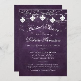 Royal Purple Fleur de Lis Lights | Bridal Shower Invitation