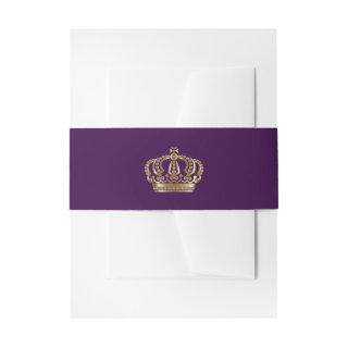 Royal Purple Gold Crown Invitation Belly Band