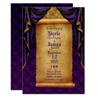 Royal Purple & Gold Drapes Scroll Wedding Invitations