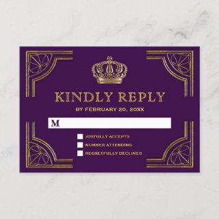 Royal Purple Gold Ornate Crown RSVP