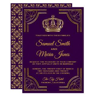 Royal Purple Gold Ornate Crown Wedding Invitations