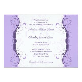 Royal Purple & Lavender Floral Wedding Invitations
