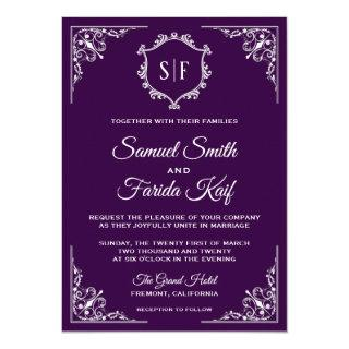 Royal Purple Ornate Monogram Wedding Invitation