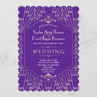 Royal Purple Silver Great Gatsby 1920s Wedding Invitations