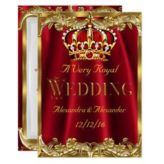 Royal Red Wedding Gold Crown Invitations