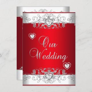 Royal Red Wedding Silver Diamond Hearts Invitations