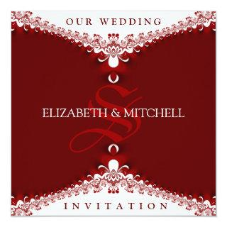 Royal Red+White Lace Monogram Wedding Invitations