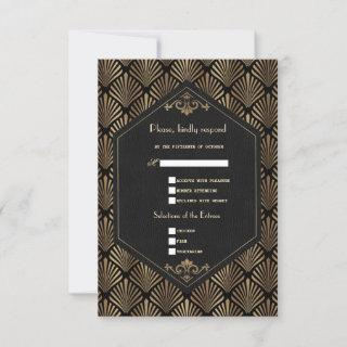 Royal Roaring 20's Gold Black Great Gatsby Wedding RSVP Card