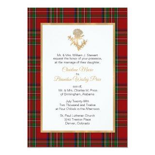 Royal Stewart Plaid Thistle Wedding Invitation