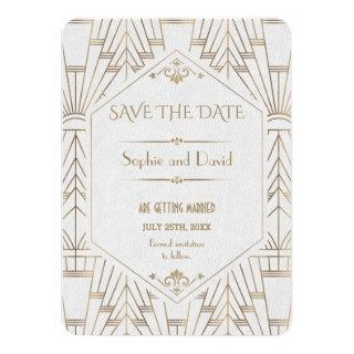 Royal White Gold Great Gatsby Save The Date Invitations
