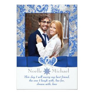 Royal Winter Wonderland Joined Hearts PHOTO Invite
